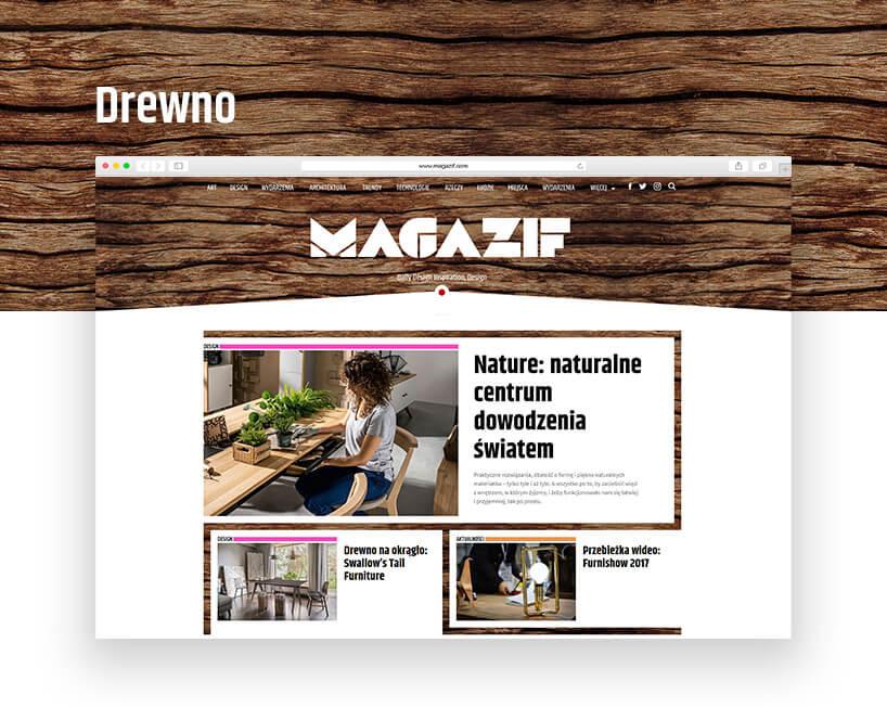 magazif ciemne brązowe drewno