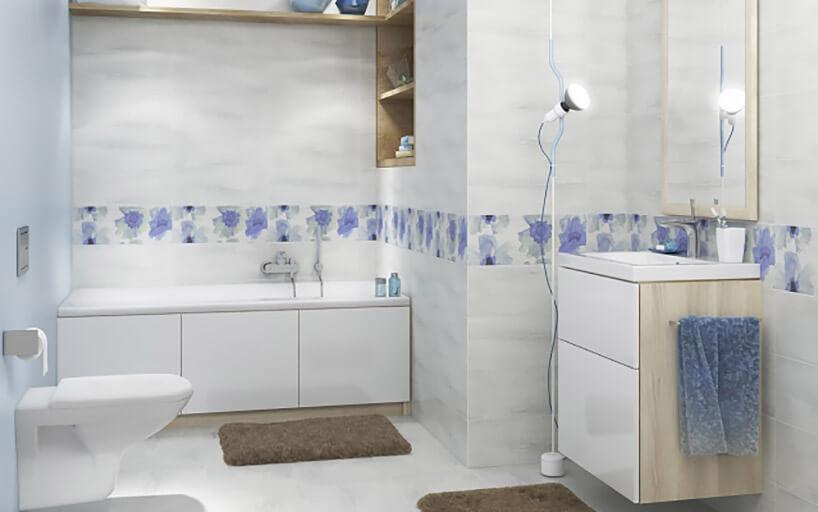 mała łazienka zszarymi płytkami ifioletowym akcentem