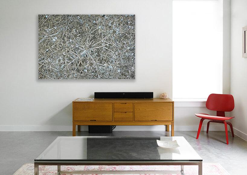 duży niski stolik na tle drewnianej szafki pod biofilicznym obrazem