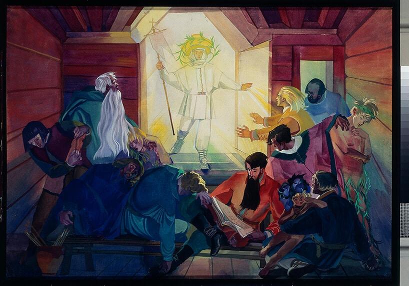 obraz ukazujący spotkanie apostołów wmałym pomieszczeniu