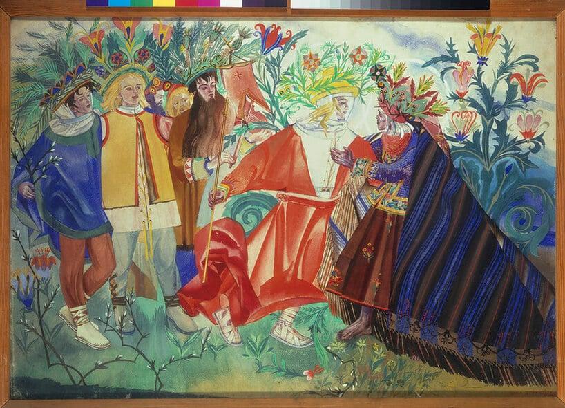 obraz zrożnymi kolorami obrazujący sytuacje spotkania syna zojcem