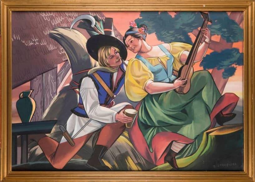 malarskie dzieło przedstawiające zaloty kochanka do pewnej damy