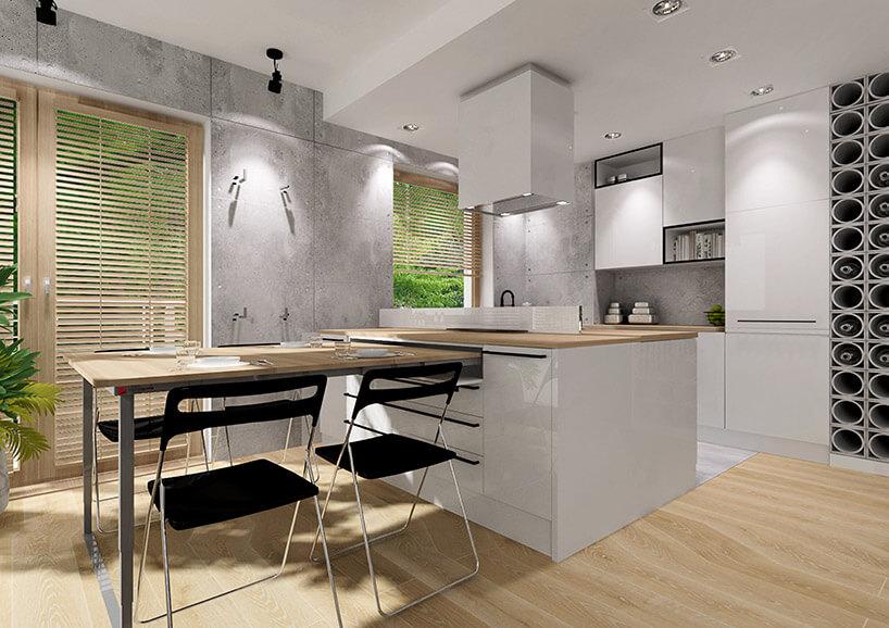 wizualizacja jasnej kuchni zrozłożonym wysuwanym stołem zszafek kuchennych