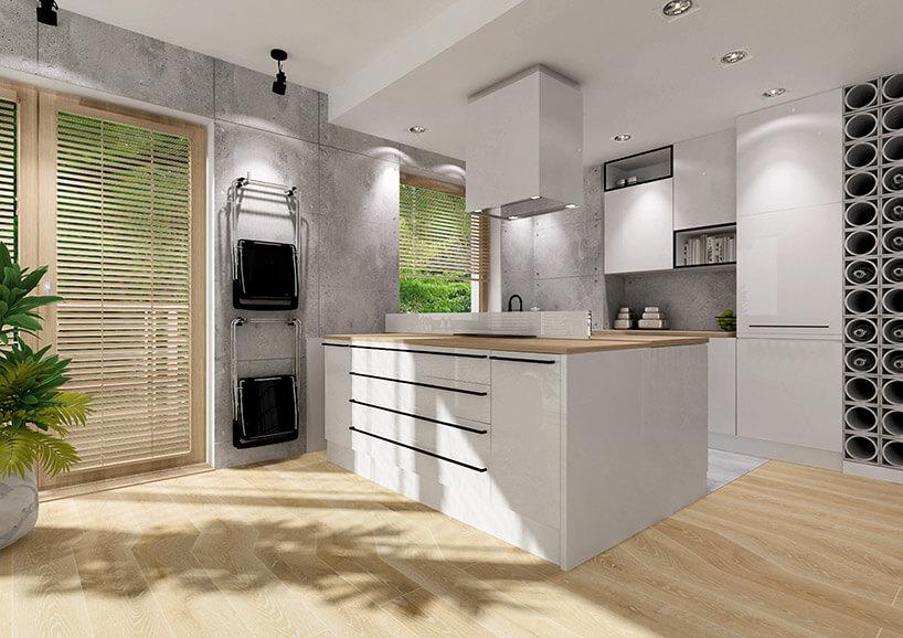 wizualizacja jasnej kuchni ze złożonym wysuwanym stołem zszafek kuchennych
