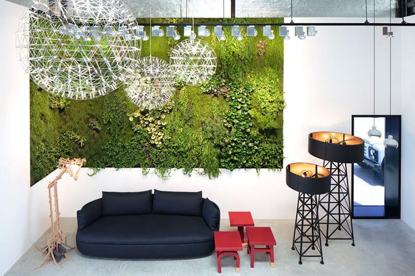 pokój zze ścianą zeielni