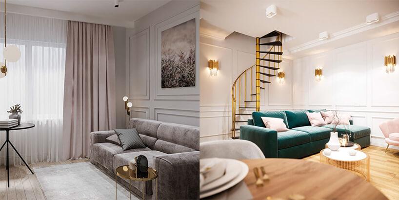 zestawienie dwóch salonów zdużą sofą