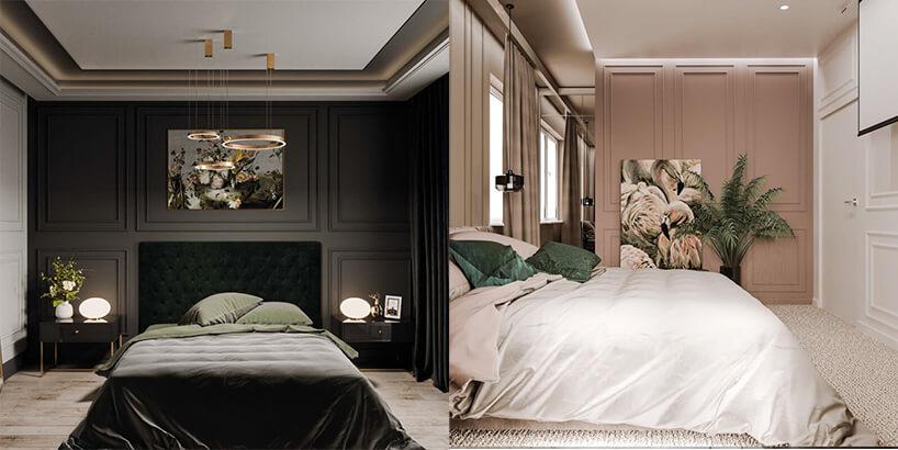 zestawienie czarnej ibiałej sypialni zdużym łóżkiem