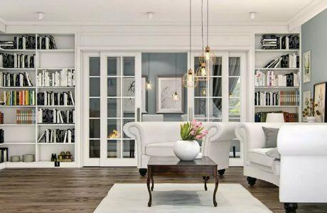 biały salon z ciemną drewnianą podłogą z białą sofą i fotelem