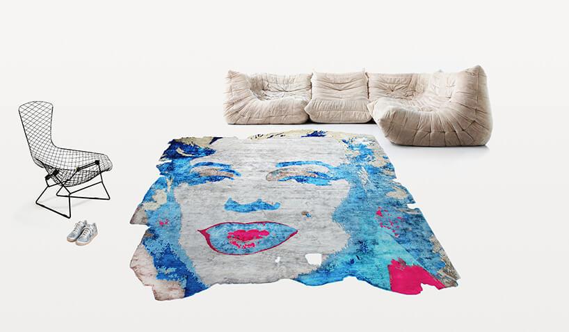 kolorowy dywan ztwarzą Marilyn Monroe