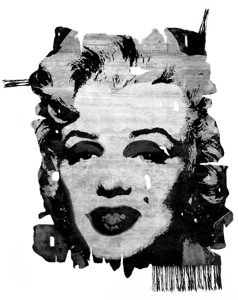 czarno-biały dywan zMarilyn Monroe
