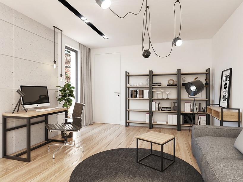 wizualizacja jasnego salonu zdrewnianą podłogą zszarą sofa imałym metalowym biurkiem zdrewnianym blatem pod wyjątkowymi lampami