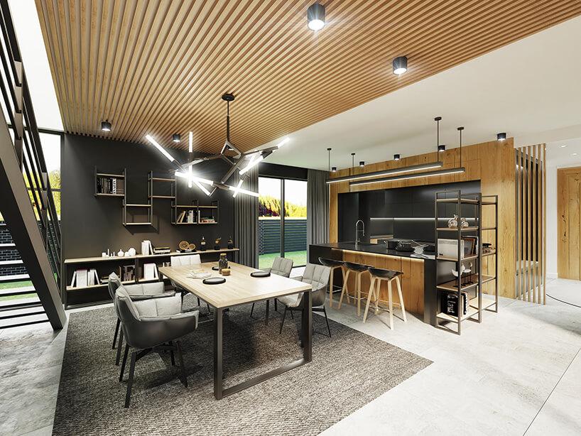 wizualizacja jadalni zmetalowym stołem zdrewnianym blatem ipięcioma czarno szarymi krzesłami pod wyjątkową lampą połączoną zkuchnią zczarnymi elementami