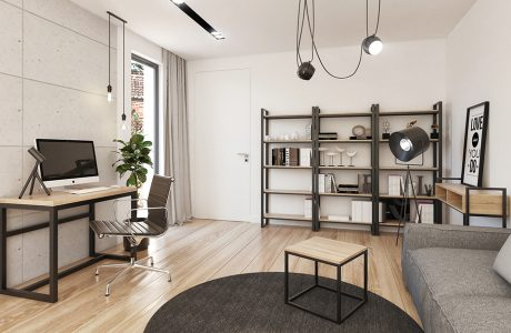wizualizacja jasnego salonu z drewnianą podłogą z szarą sofa i małym metalowym biurkiem z drewnianym blatem pod wyjątkowymi lampami
