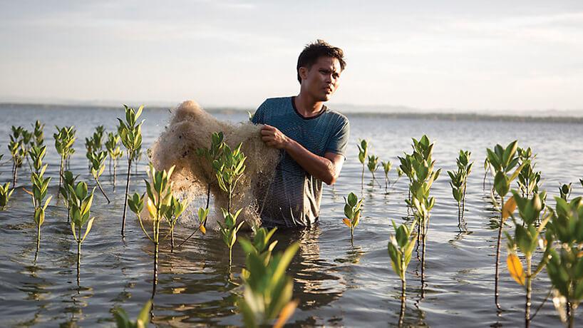człowiek wynoszący stare sieci rybackie zwody
