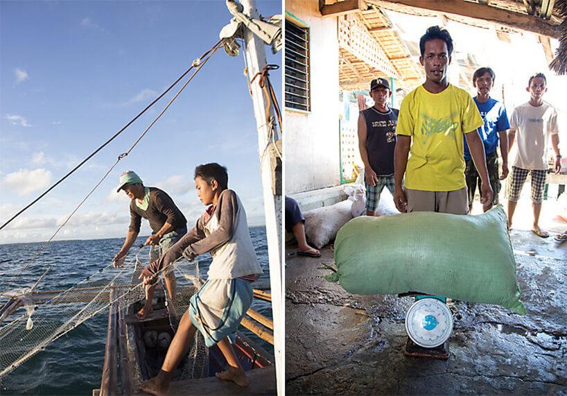 wyławianie itransport starych sieci rybackich