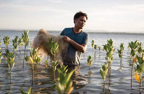 człowiek wynoszący stare sieci rybackie