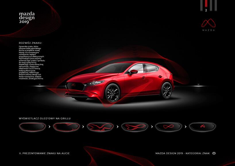 grafika Mazdy 3 2019 zwyświetlaczem zamiast znaczka marki Mazda
