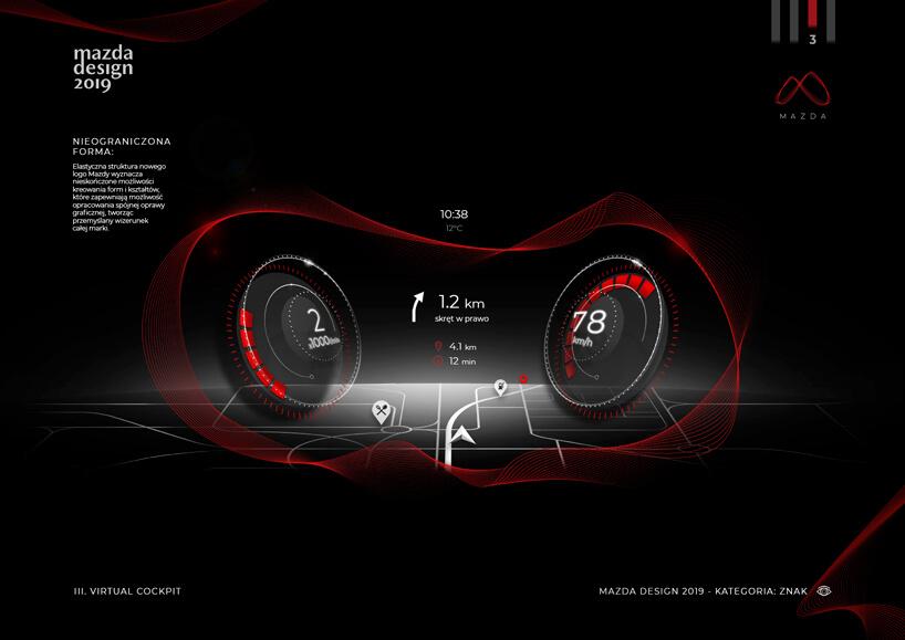 czarna grafika zdwoma zegarami samochodowymi obok nawigacji