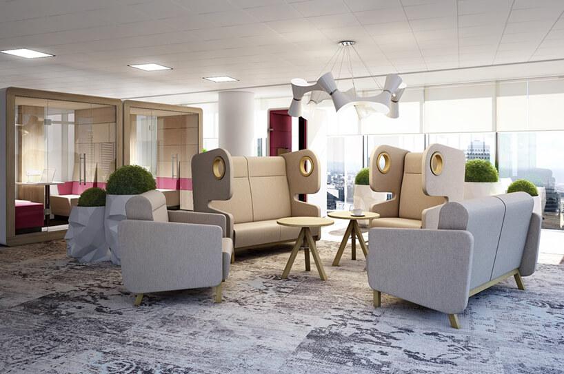 aranżacja przestrzeni biurowej Smart Office od MIKOMAX zszarymi fotelami zwysokim oparciem, sofą ifotelem