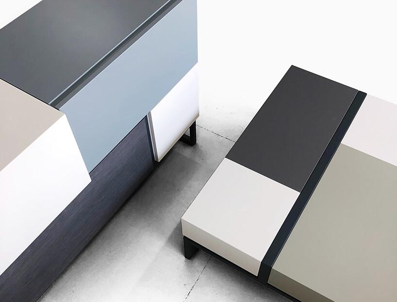 wyjątkowy niski modułowy stół obok modułowej komody od Bozzetti
