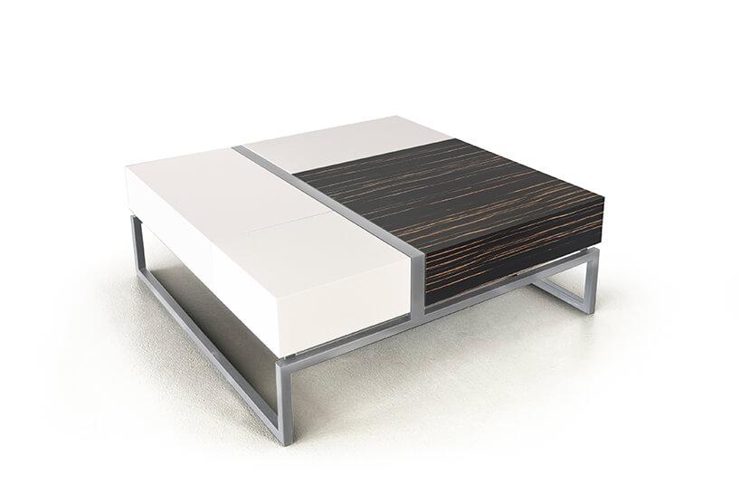 nowoczesny niski stolik modułowy Blokk od Bozzetti na srebrnej rami