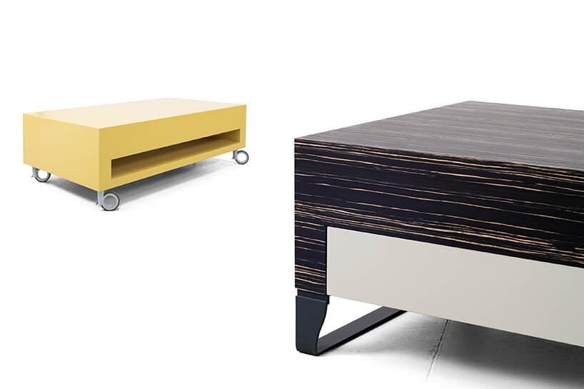 eleganckie niskie stoliki Modo od Bozzetti wkolorze żółtym iibrązowym