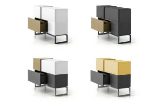 cztery wersje kolorystyczne modułowych szafek Blokk od Bozzetti
