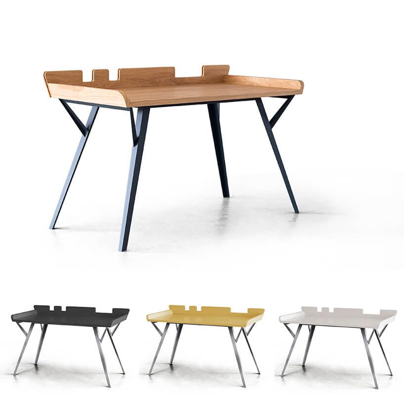 wyjątkowe biurko dla architektów DIAG od Bozzetti zdrewnianym blatem na czarnych nogach wczterech wersjach kolorystycznych