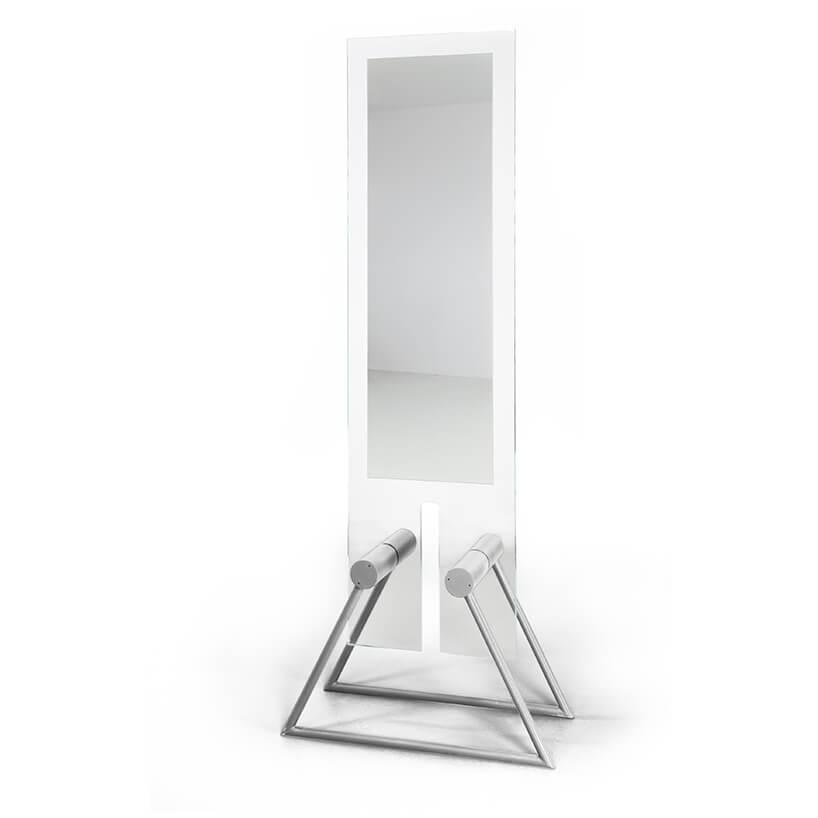 wyjątkowe lustro Tremo od Bozzetti na srebrnych metalowych nogach