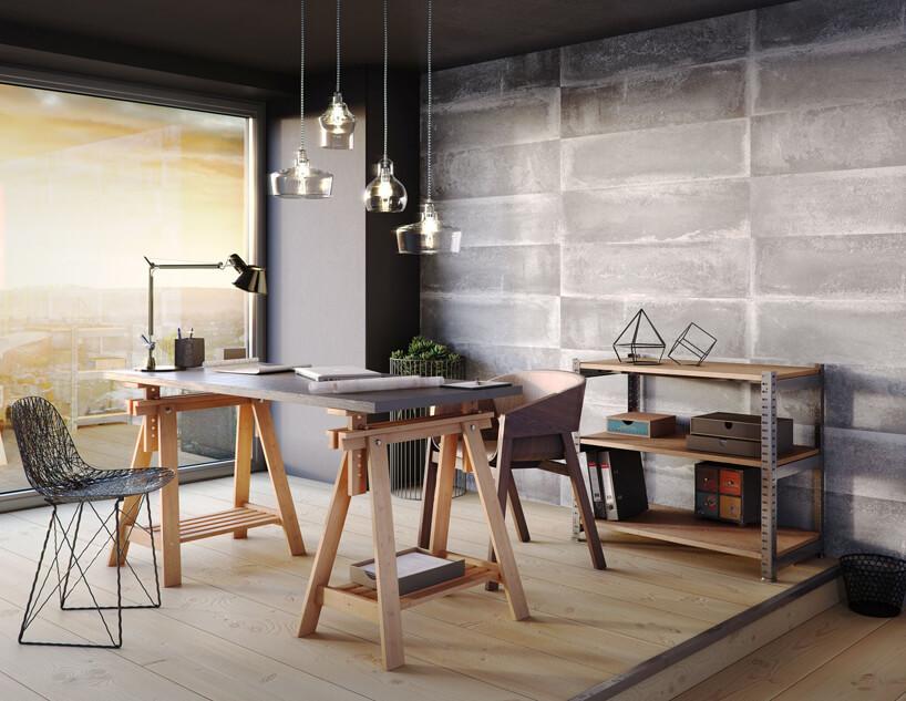 nowoczesne stanowisko pracy zdrewnianymi biurkiem na wyjątkowych nogach