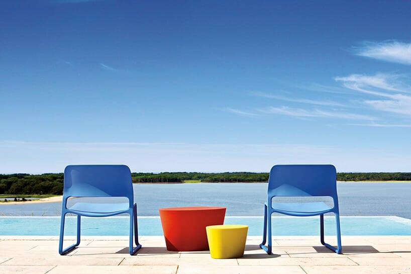 dwa niebieskie krzesła obok dwóch cylindrycznych stolików na tle basenu ilasu woddali