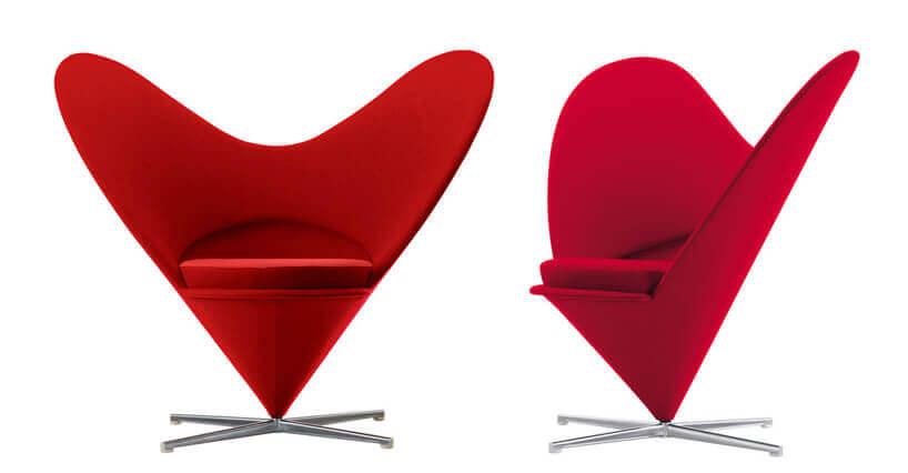 wyjątkowe czerwone krzesło Heart Cone Chair od Vitra projektu Verner Panton wkształcie serca