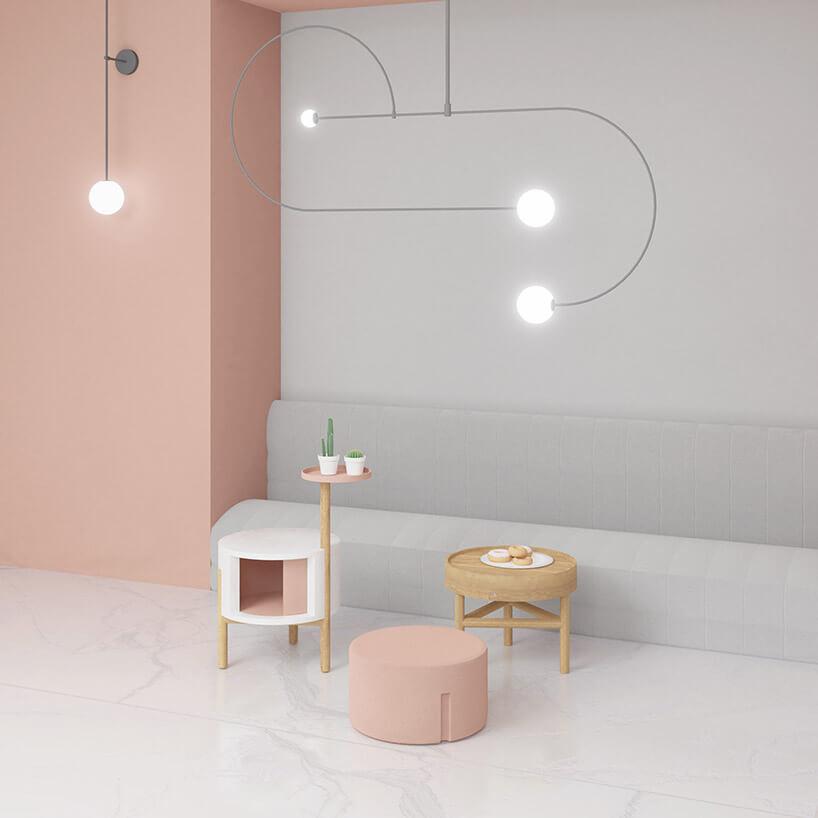 biało-różowy zestaw mebli edd ieddie na wizualizacji