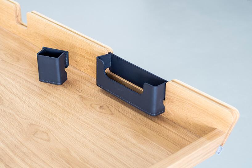 plastikowe dokładki do małego biurka Diag od Bozzetti