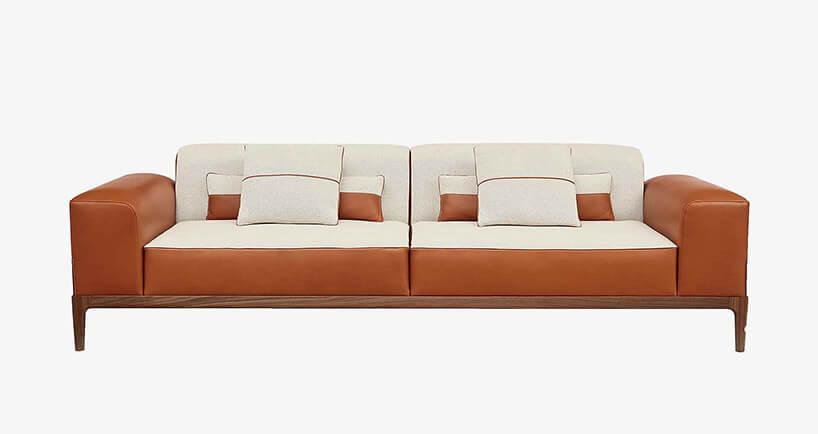 duża sofa wbrązowo-beżowej kolorystyce