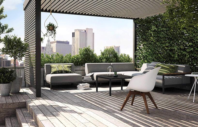 komplet szarych mebli ogrodowych na osłoniętym patio