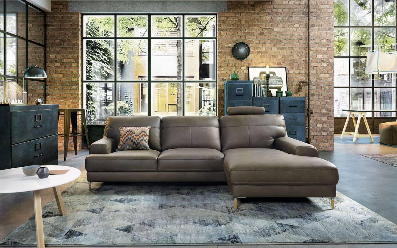skórzana sofa narożnik wkolorze taupe ibrązowym od gala collezione