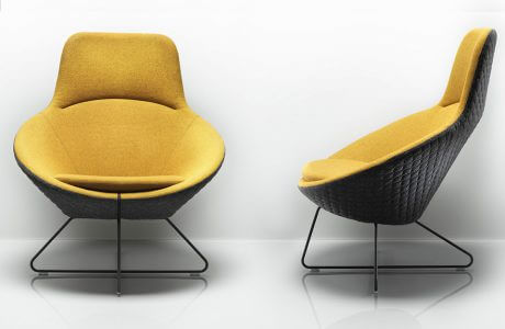 żółto-czarny nowoczesny fotel
