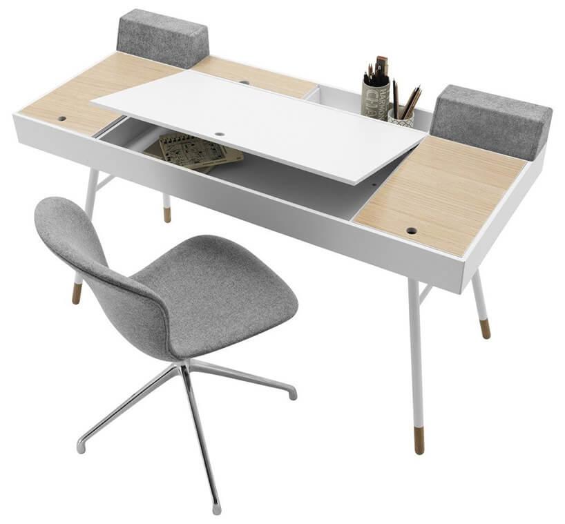 biurko zpodnoszonymi blatami jako szafkami