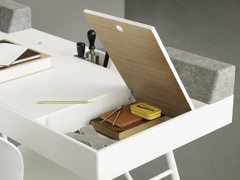 biurko zpodnoszonymi blatami jako schowkami