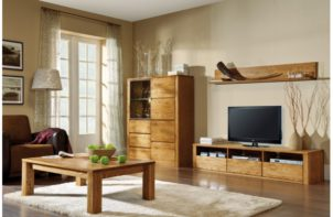 meble z drewna w salonie