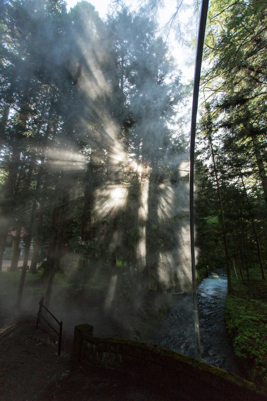 sztuczna mgła wświetle słońca