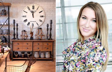 przyjemniej zaaranżowane wnętrze z dużym zegarem obok zdjęcia kobiety Natalii Tarachowicz
