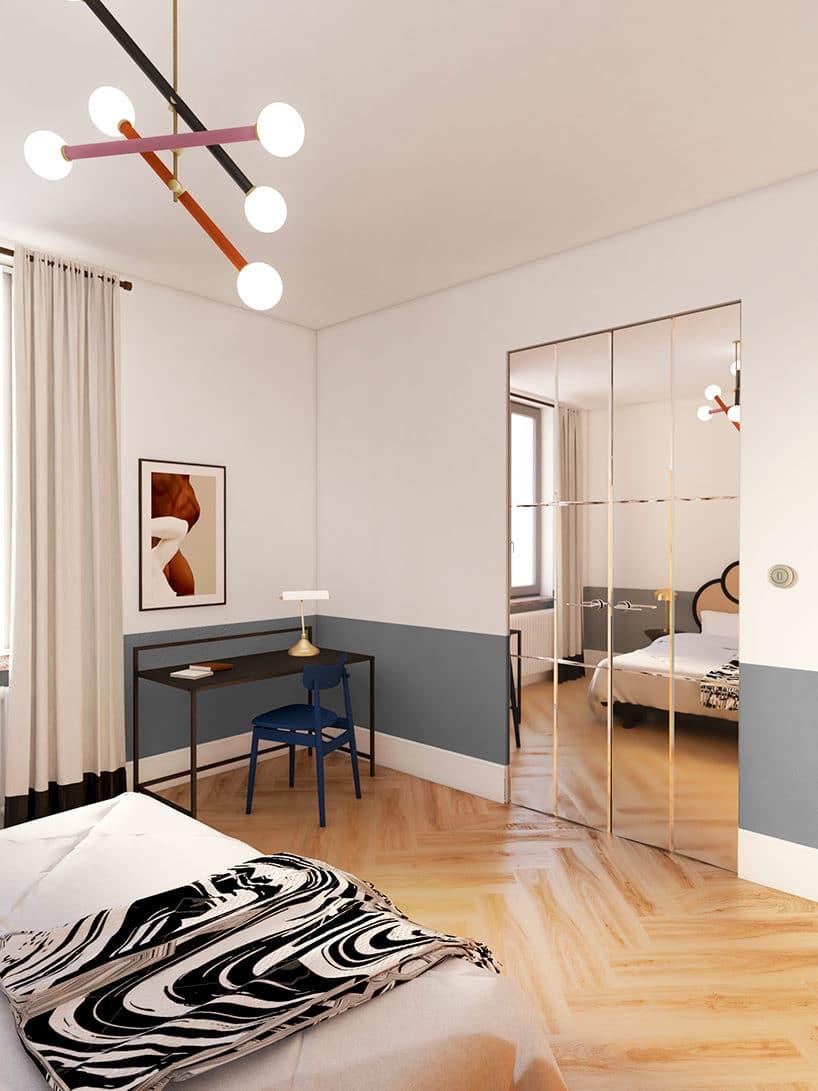 jasna sypialnia zlustrzanymi drzwiami