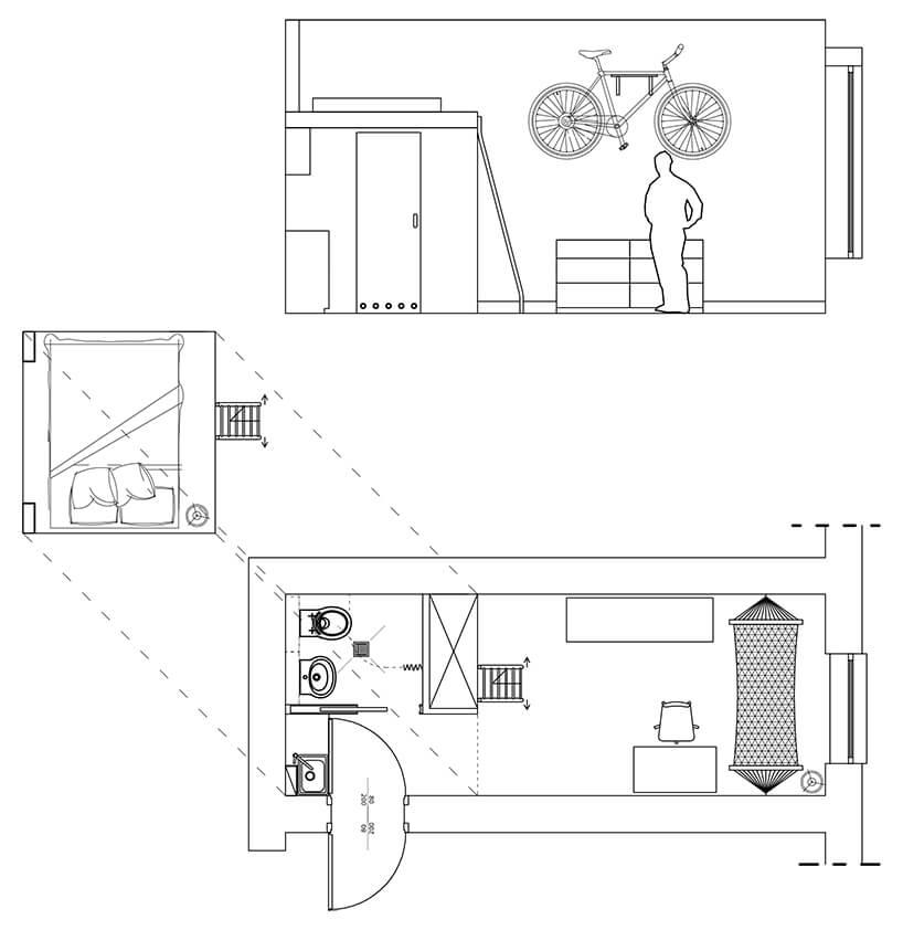 mikromieszkanie 13 mkw projektu Szymona Hanczara projekt