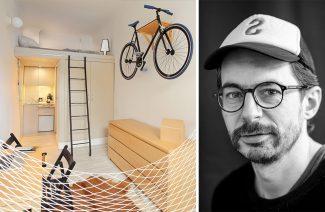 mikromieszkanie 13 mkw projektu Szymona Hanczara obok czarno białego zdjęcia projektanta