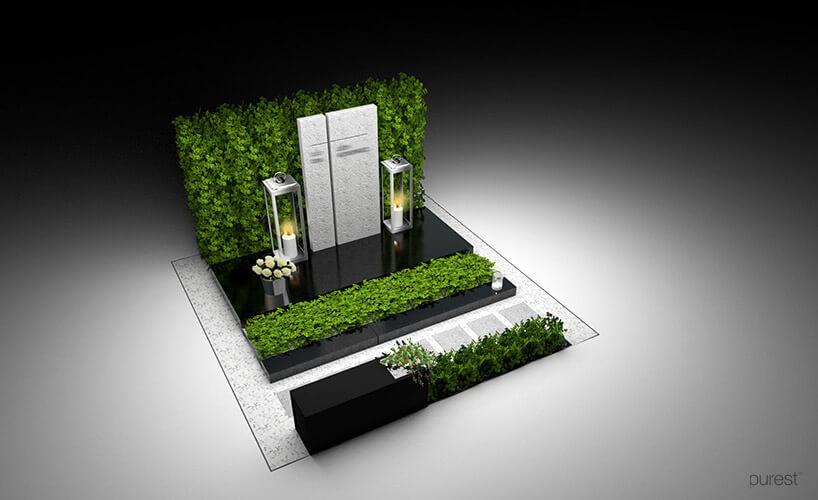 projekt pomnika nagrobnego zelementami zieleni ibiałą pionową płytą
