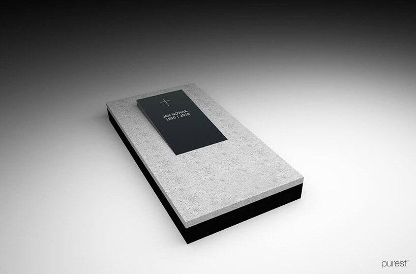 projekt szarej płyty nagrobkowej zosadzoną czarną płytą