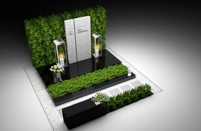 projekt pomnika nagrobnego z elementami zieleni i białą pionową płytą