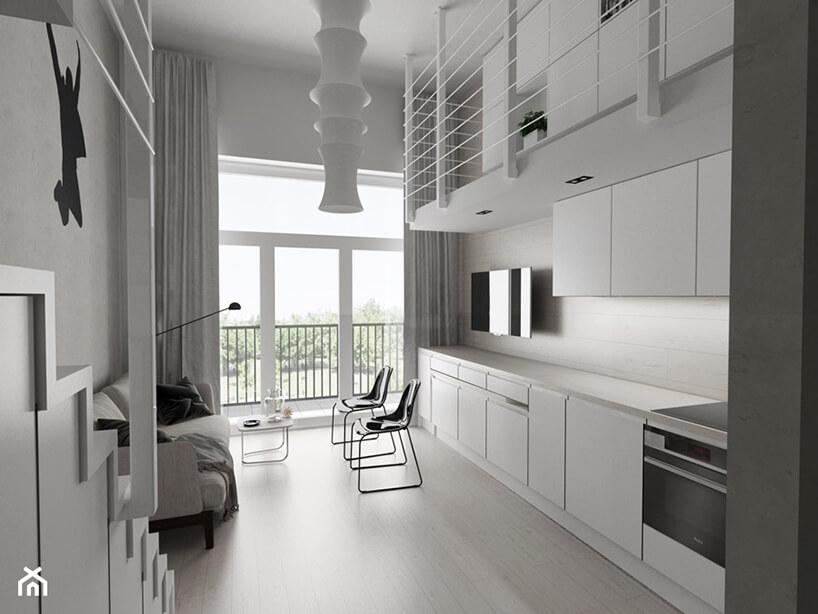 projekt minimalistycznego loftu Piotra Skorupskiego ze Studia Architektury biała kuchnia połączona zsalonem
